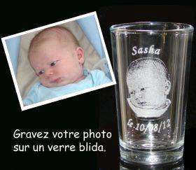 Photo gravée sur verre à champagne blida